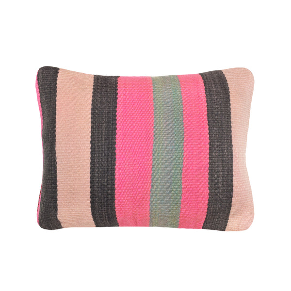 yonder living vintage kilim cushion neon pink sage green charcoal stripes