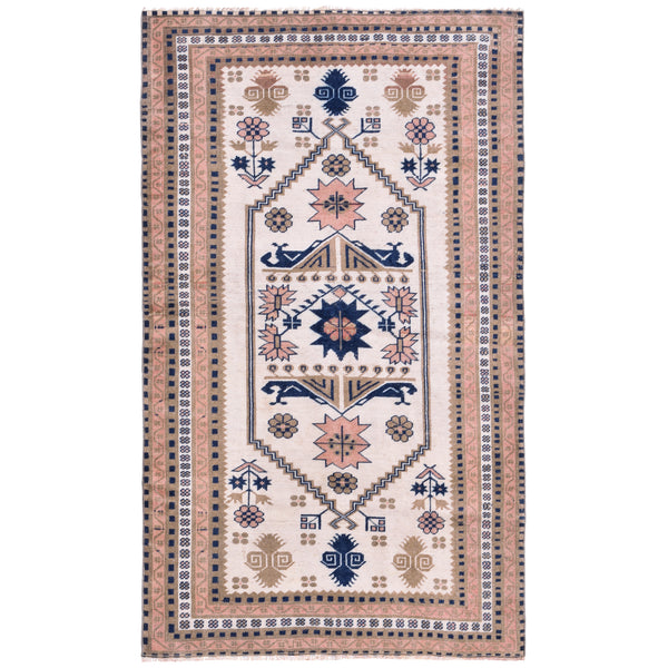 YONDER VINTAGE TURKISH RUG PINK CREAM NAVY MILAS FLOWERS