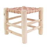 Yonder Berber Beldi Leather Stool Wooden