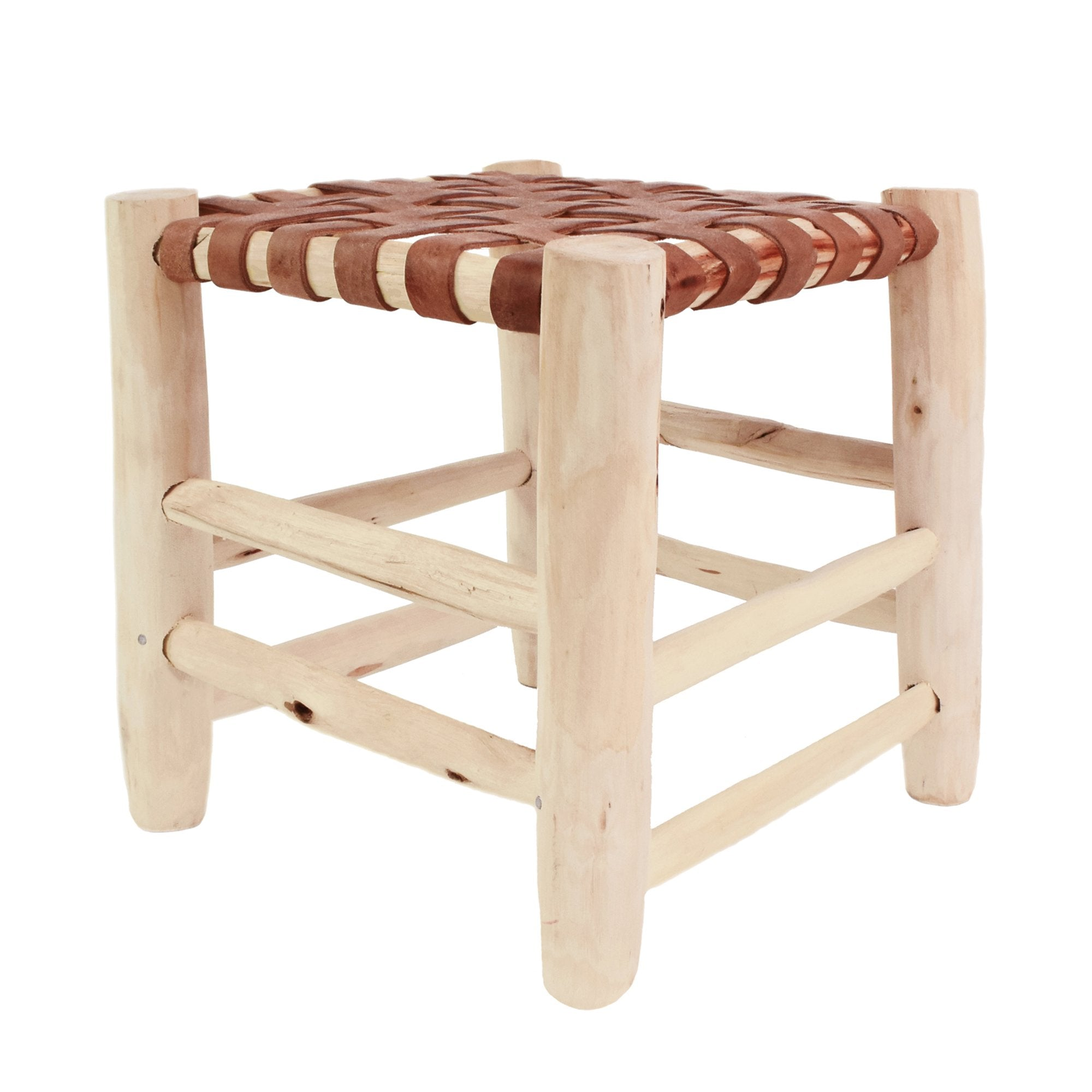 Yonder Beldi Berber Leather Stool Wooden