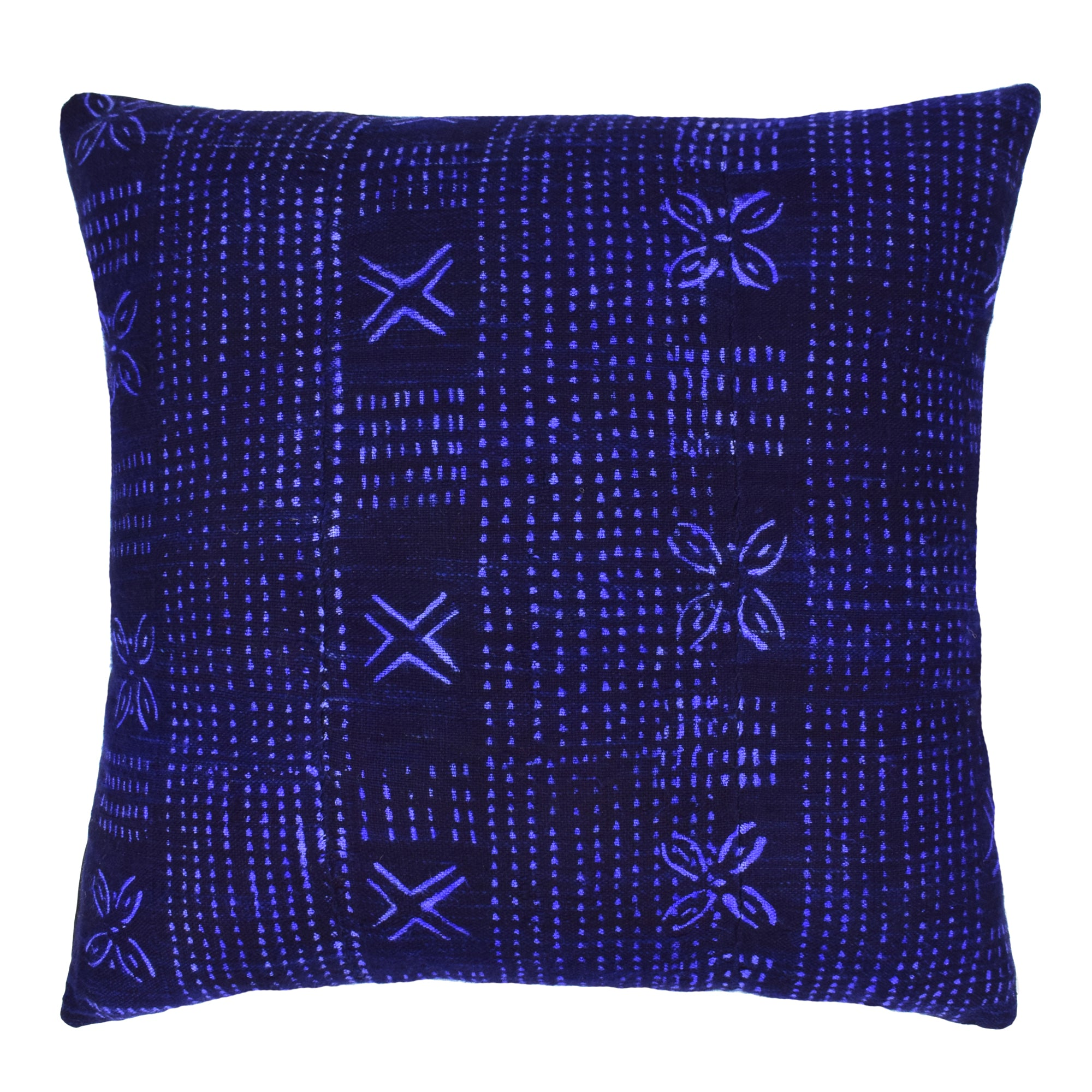 Indigo Blue Navy Mali Mudcloth Cushion Ikat Crosses Flowers