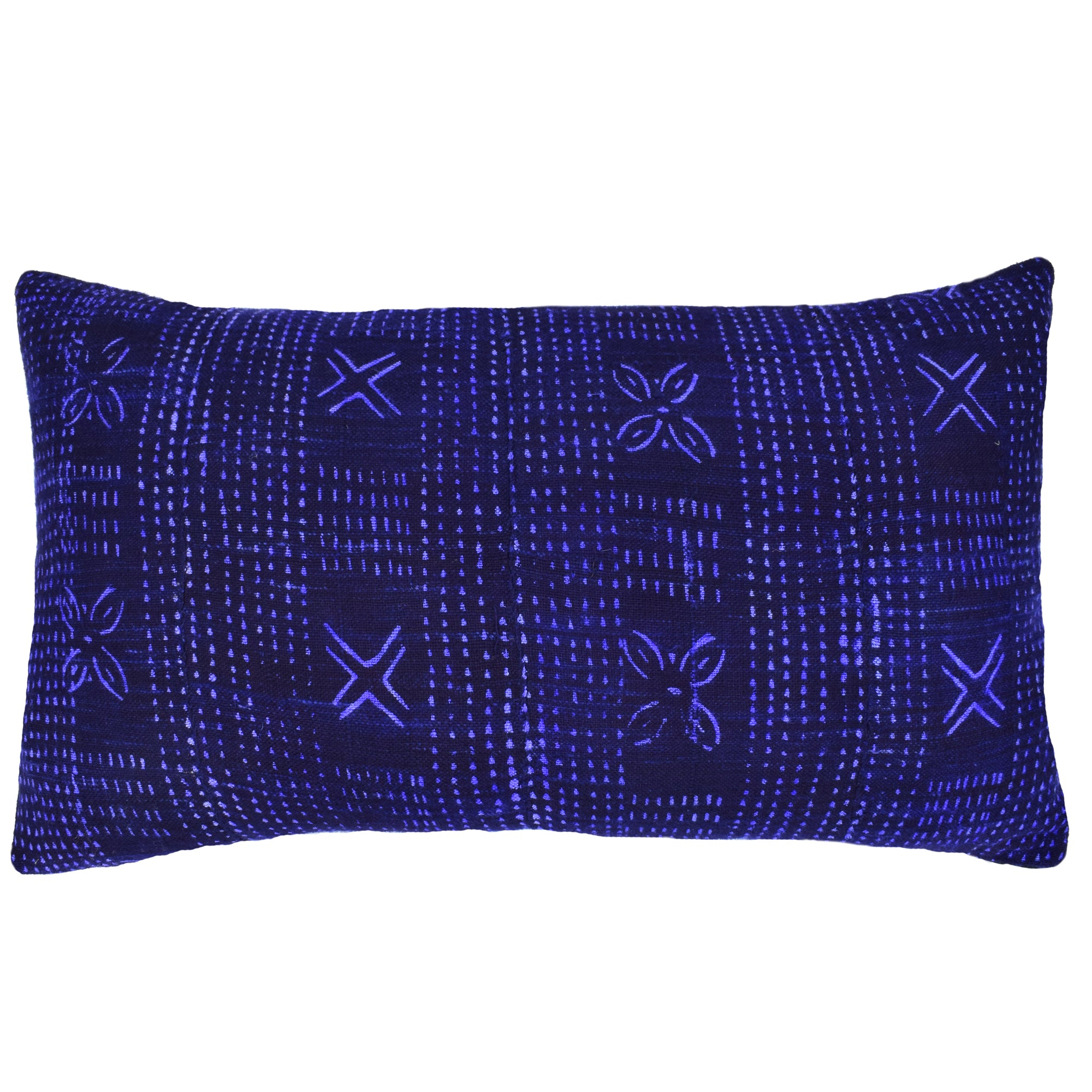 Indigo Blue Navy Mali Mudcloth Cushion Ikat Crosses Flowers Lumbar