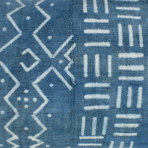 Light Indigo Blue Navy Mali Mudcloth Cushion Ikat Lumbar