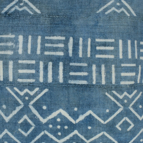 Light Indigo Blue Navy Mali Mudcloth Cushion Ikat