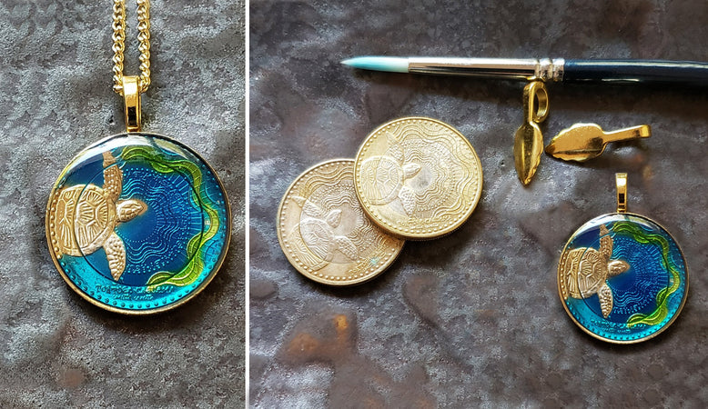 Animal coin hand painted coins