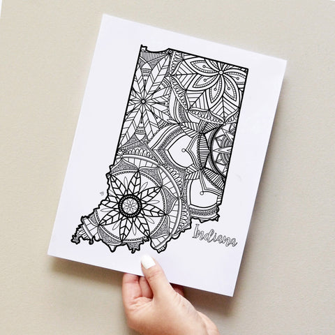 Indiana US State Map adult coloring page