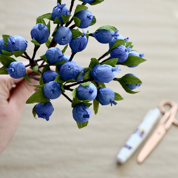 Crepe paper blueberries