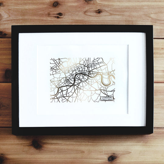London Map Art Print with Rose Gold Foil