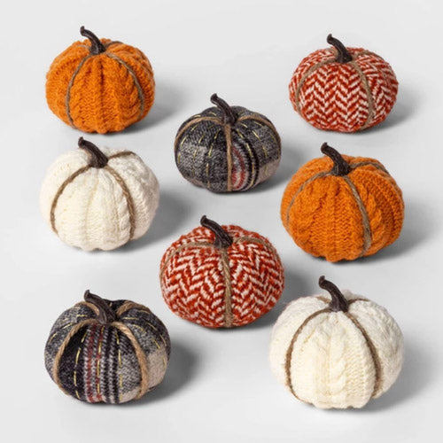 8ct Mini Fabric Pumpkins Halloween Decoration Patterned Target