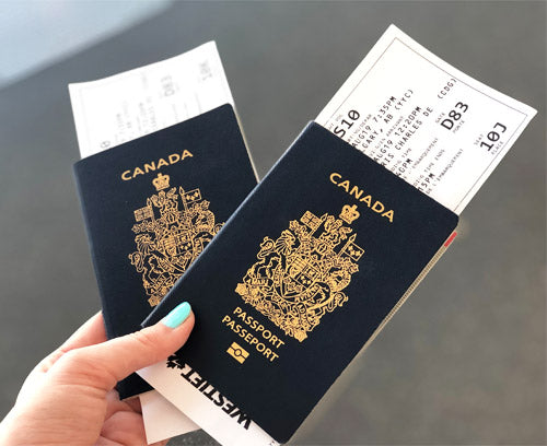 Canadian passports and boarding passes