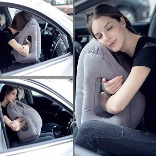 Inflatable travel pillow long haul flight