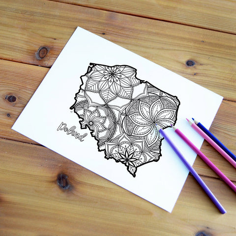 poland map coloring page