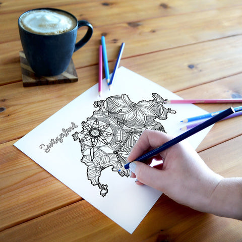 switzerland map coloring page