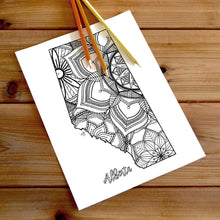 Load image into Gallery viewer, alberta canada coloring pages | Coloring pages for adults | Coloring pages for kids | canada map coloring sheets | alberta map coloring page | canadian provinces coloring page