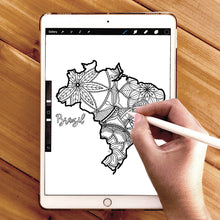Load image into Gallery viewer, brazil coloring pages | Coloring pages for adults | Coloring pages for kids | brazil map coloring sheets | brazil map coloring page | brazil coloring page