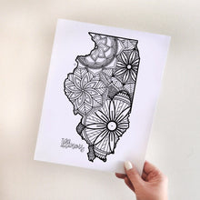 Load image into Gallery viewer, illinois usa coloring pages | state map coloring pages for adults | Coloring pages for kids | illinois usa map coloring sheets | state map coloring page | united states coloring page | united states of america | map of america