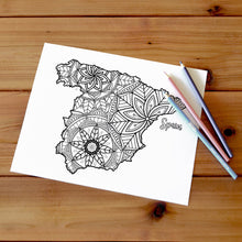 Load image into Gallery viewer, spain coloring pages | Coloring pages for adults | Coloring pages for kids | spain map coloring sheets | spain map coloring page | spain coloring page