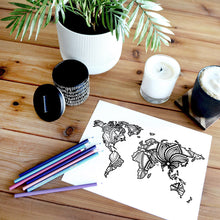 Load image into Gallery viewer, world coloring pages | Coloring pages for adults | Coloring pages for kids | world map coloring sheets | map of the world | world map coloring sheets