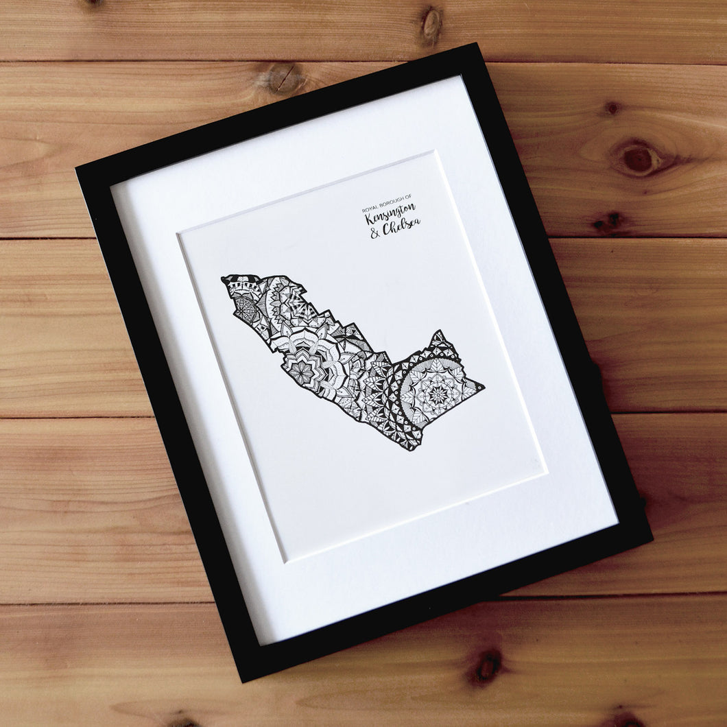 Map of London Borough of Kensington and Chelsea | Map of Kensington and Chelsea London | Map Art | Travel Gift Ideas | London Borough of Kensington and Chelsea City Map | Map Wall Art | London Borough of Kensington and Chelsea Map