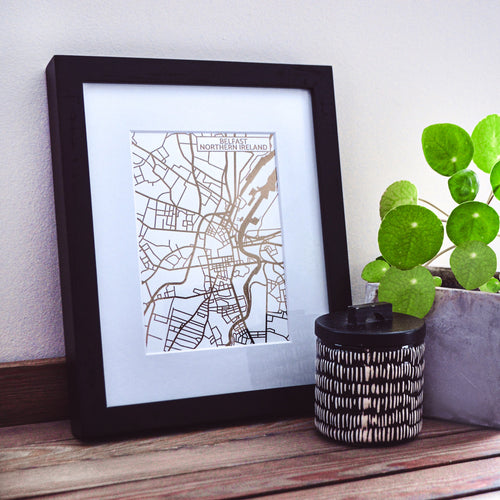 Map of Belfast Northern Ireland | Rose Gold Foil Map Art | Travel Gift Ideas | Belfast City Map | Map Wall Art | Belfast Map | Northern Ireland Map | Northern Ireland Foil City Maps
