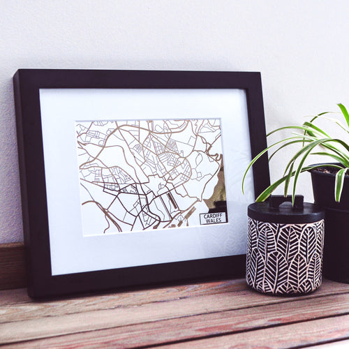 Map of Cardiff Wales | Rose Gold Foil Map Art | Travel Gift Ideas | Cardiff City Map | Map Wall Art | Cardiff Map | Wales Map | Wales Foil City Maps
