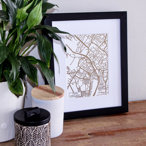 Map of York England | Rose Gold Foil Map Art | Travel Gift Ideas | York City Map | Map Wall Art | York Map | UK Map | UK Foil City Maps