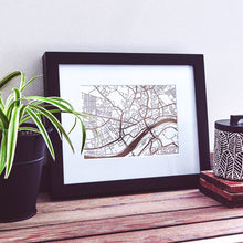 Load image into Gallery viewer, Map of Newcastle-upon-Tyne England | Rose Gold Foil Map Art | Travel Gift Ideas | Newcastle City Map | Map Wall Art | Newcastle Map | UK Map | UK Foil City Maps