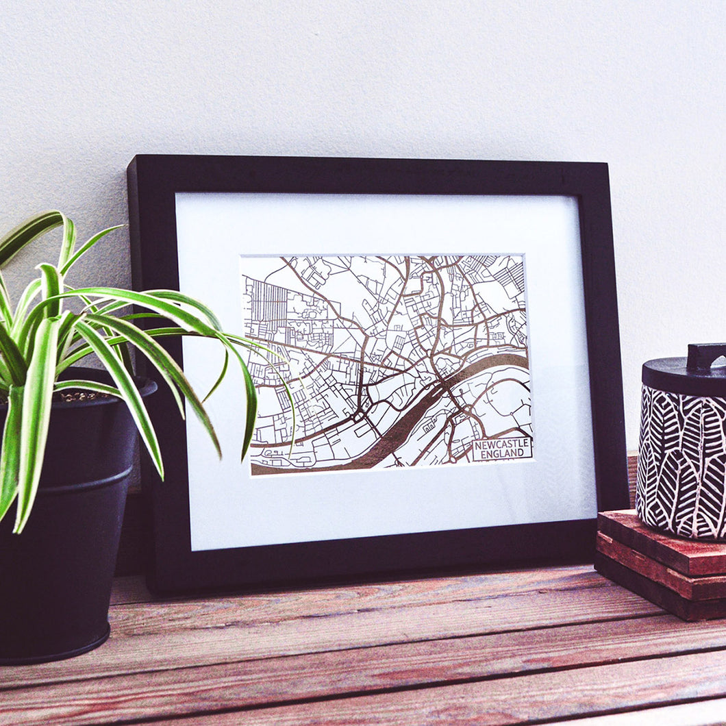Map of Newcastle-upon-Tyne England | Rose Gold Foil Map Art | Travel Gift Ideas | Newcastle City Map | Map Wall Art | Newcastle Map | UK Map | UK Foil City Maps