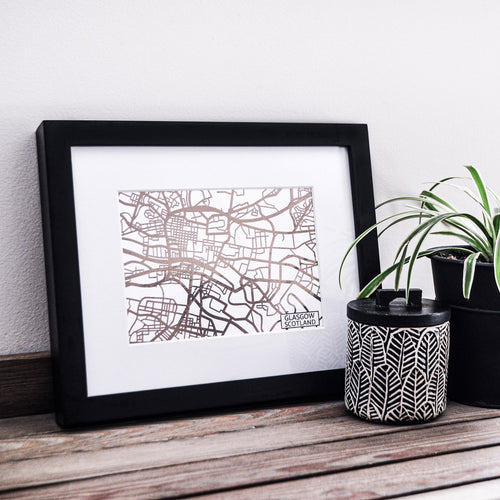 Map of Glasgow Scotland | Rose Gold Foil Map Art | Travel Gift Ideas | Glasgow City Map | Map Wall Art | Glasgow Map | Scotland Map | Scotland Foil City Maps