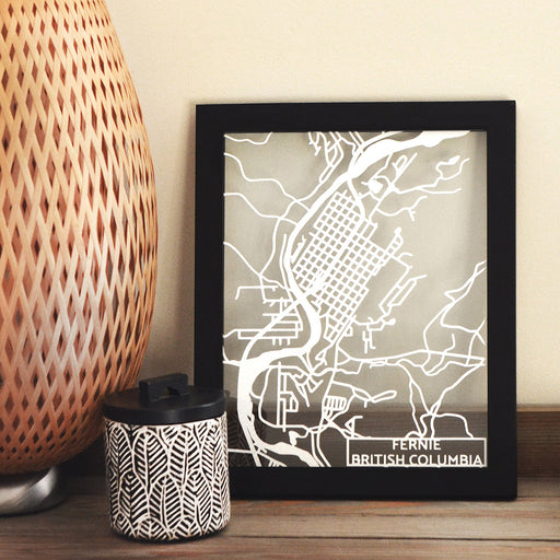 Fernie, British Columbia, Canada Papercut Map Art