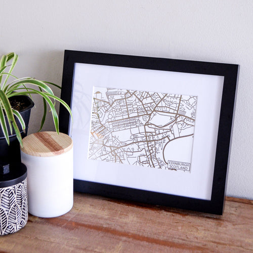 Map of Edinburgh Scotland | Rose Gold Foil Map Art | Travel Gift Ideas | Edinburgh City Map | Map Wall Art | Edinburgh Map | Scotland Map | Scotland Foil City Maps