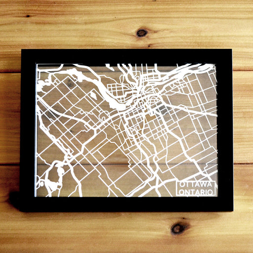 Ottawa, Ontario, Canada Papercut Map Art