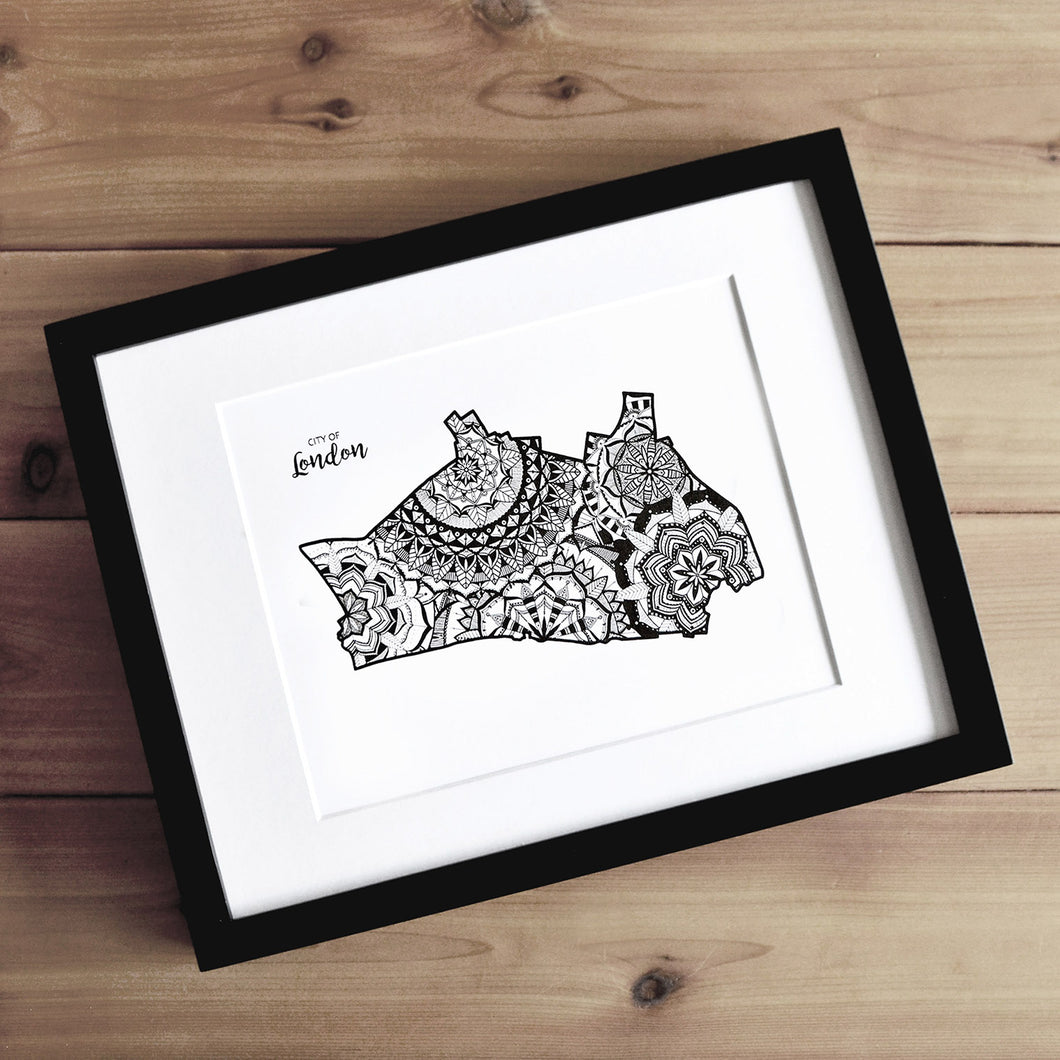 Map of London Borough of City of London | Map of City of London | Map Art | Travel Gift Ideas | London Borough City Map | Map Wall Art | City of London Map