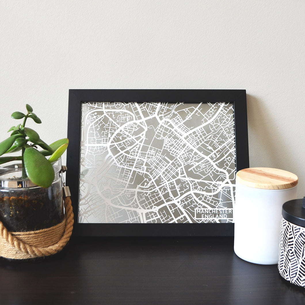 Map of Manchester England | Papercut Map Art | UK Travel Gift Ideas | Manchester City Map | Map Wall Art | Manchester Map | England Map | UK Papercut City Maps