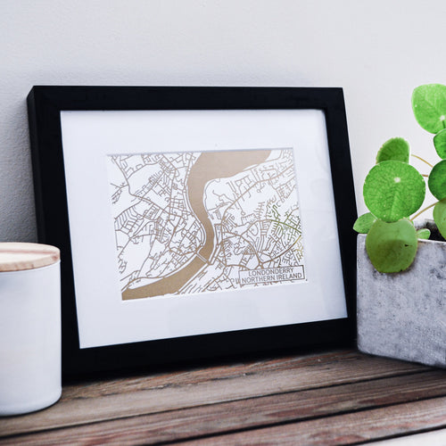 Map of Londonderry Northern Ireland | Rose Gold Foil Map Art | Travel Gift Ideas | Londonderry City Map | Map Wall Art | Londonderry Map | Northern Ireland Map | Northern Ireland Foil City Maps