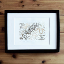 Load image into Gallery viewer, London Map Art Rose Gold Foil Print