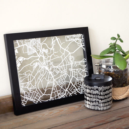 Map of Nottingham England | Papercut Map Art | UK Travel Gift Ideas | Nottingham City Map | Map Wall Art | Nottingham Map | England Map | UK Papercut City Maps