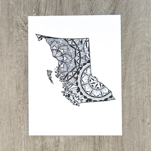 Map of BC Canada | Map Art | Travel Gift Ideas | City Map | Mandala Wall Art | Canadian Provinces of Canada