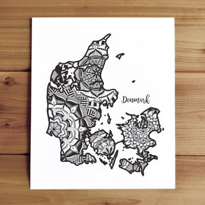 Map of Denmark | Map Art | Travel Gift Ideas | Denmark City Map | Map Wall Art | Denmark Map