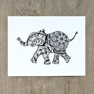 Baby elephant mandala print home decor artwork