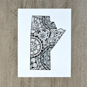 Map of Manitoba Canada | Map Art | Travel Gift Ideas | City Map | Map Wall Art | Canadian provinces of Canada