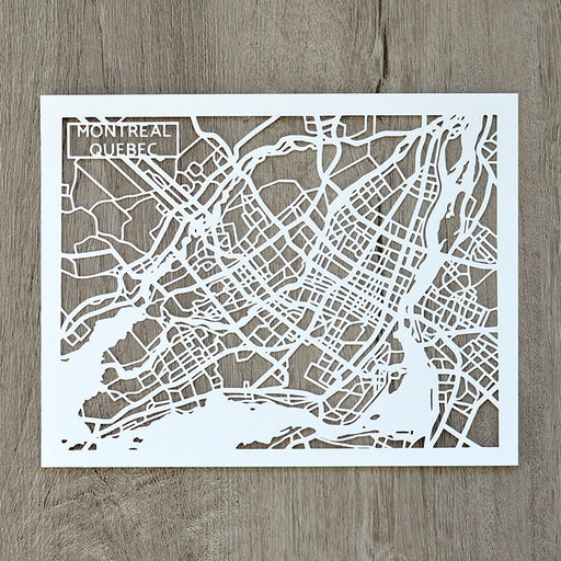 Montreal, Quebec, Canada Papercut Map Art