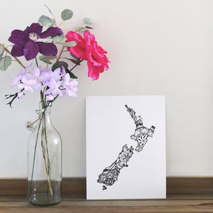 Map of New Zealand | Map Art | Travel Gift Ideas | New Zealand City Map | Map Wall Art | New Zealand Map