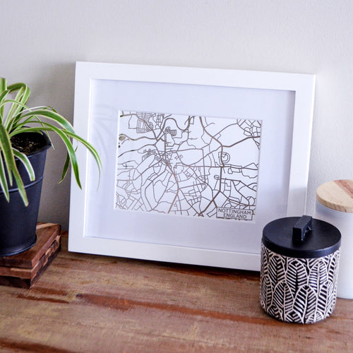 Map of Nottingham England | Rose Gold Foil Map Art | Travel Gift Ideas | Nottingham City Map | Map Wall Art | Nottingham Map | UK Map | UK Foil City Maps