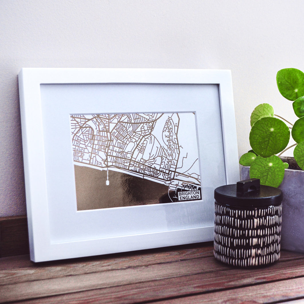 Map of Brighton England | Rose Gold Foil Map Art | Travel Gift Ideas | Brighton City Map | Map Wall Art | Brighton Map | UK Map | UK Foil City Maps