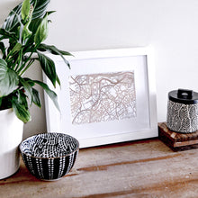 Load image into Gallery viewer, Map of Bristol England | Rose Gold Foil Map Art | Travel Gift Ideas | Bristol City Map | Map Wall Art | Bristol Map | UK Map | UK Foil City Maps