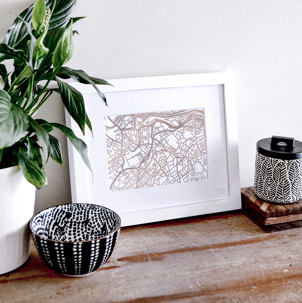 Map of Bristol England | Rose Gold Foil Map Art | Travel Gift Ideas | Bristol City Map | Map Wall Art | Bristol Map | UK Map | UK Foil City Maps