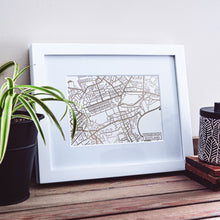 Load image into Gallery viewer, Map of Edinburgh Scotland | Rose Gold Foil Map Art | Travel Gift Ideas | Edinburgh City Map | Map Wall Art | Edinburgh Map | Scotland Map | Scotland Foil City Maps