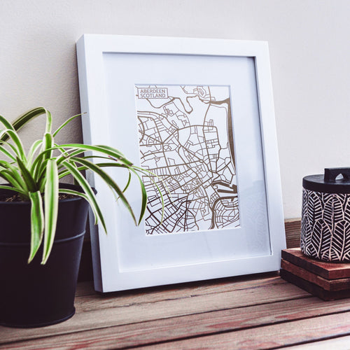 Map of Aberdeen Scotland | Rose Gold Foil Map Art | Travel Gift Ideas | Aberdeen City Map | Map Wall Art | Aberdeen Map | Scotland Map | Scotland Foil City Maps
