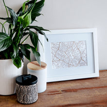 Load image into Gallery viewer, Map of Birmingham England | Rose Gold Foil Map Art | Travel Gift Ideas | Birmingham City Map | Map Wall Art | Birmingham Map | UK Map | UK Foil City Maps
